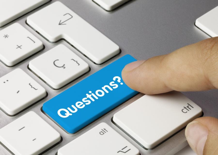 Questions? keyboard key