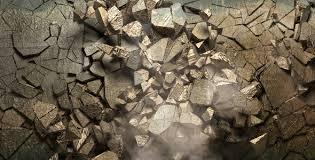 brick wall exploding